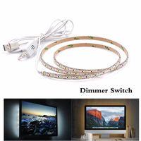 Полоски DC5V Светодиодная Светодиодная Света Света Батареи USB Лампа 50 см 1 м 2м 3м SMD 3528 Диммер Siwitch Теплый белый / гибкий диод