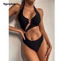 Vigorashely 2021 مثير جوفاء قطعة واحدة ملابس السباحة ضمادة رفع ملابس النساء الرسن الاستحمام البدلة عالية الخصر monokini السباحة ارتداء اثنين من قطعة