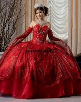 2022 Red Beading Lace Ball Gown Quinceanera Dresses Beaded Off Shoulder Tulle Sequined Sweet 15 16 Dress XV Party Wear