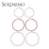 Solememo Big Circle Orecchini Sexy Moda esagerato Hoop Ear Loop Liscio per le donne Gioielli da ragazza all'ingrosso E5526 Huggie