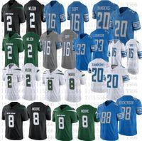 Homens 2 Zach Wilson Football Jersey 20 Barry Sanders 16 Jared Goff 88 T.J. Hockenson 8 Elijah Moore camisas costuradas