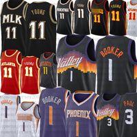 Devin # 1 Booker Jersey Trae 11 Genç Basketbol Formaları Siyah Chris 3 Paul Retro Mesh Steve 13 Nash Jerseys 2021 En İyi Ucuz Satış