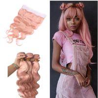 레이스 정면 폐쇄 핑크 바디 웨이브 헤어 웨이프와 로즈 골드 인간의 머리카락 묶음 핑크 인간의 머리카락 핑크 jebps
