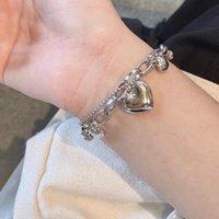 Link, Chain Harajuku Punk Metal Love Heart Bracelets For Women Girls Creative Hollow Pendant Bracelet Fashion Jewelry Party Gifts
