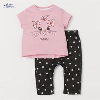 Summer Fashion Toddler Girl Clothes Casual Cotton Pink Cat Letter Print Children Set Animal T Shirt + Dot Pants 20719 210610