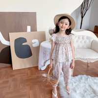 Summer Baby Girls suits children Girl Fowers Cotton T-shirt +pants 2pcs  Sets Sweet Baby Casual Clothing