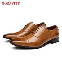 XGRAVITY Cow Split Leather Square Toe Men's Shoes Leather Brand Fashion Spring Autumn Men Shoes Dress Business Shoes Man A166 210429