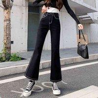 Siyah Flared Kot Kadın Casual Vintage Sıska Düşük Bel Streç Anne Jean Y2K Denim Pantolon Bayan Artı Boyutu Pantolon 90 S Estetik