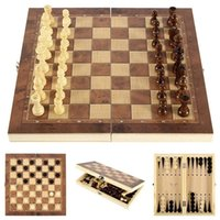 Hot Top Quality Wooden Folding Magnetic Chess Set Solid Wood Chessboard Magnetic Pieces Entertainment Board Games Children Gifts 861 Z2