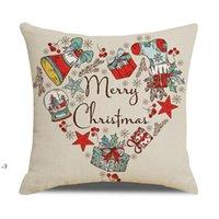 20 Farben dekorative Kissenbezüge für Weihnachten Halloween-Leinen-Kissen 45 * 45 cm benutzerdefinierte Santa-gedrucktes lehnendes Kissenbezug Kissen owd10644