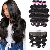 Body Wave Hair 4 Bundles With Lace Frontal 13x4 Unprocessed Natural 1B Color Remy Human Bundles Hair Extensions