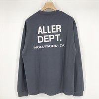 ABD Hollywood Cememt Gri Kaykay Yüksek Sokak T Gömlek Erkekler Kadınlar Pamuk Uzun Kollu Moda Streetwear Tshirt Tee