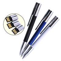 Custom Logo Metal USB2.0 Ballpoint Pen Stick USB Flash Drives Pen Drive 64GB 32GB Memoria Pendrive for Office Business