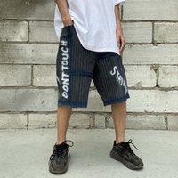 Хип-хоп письма отверстие полосатые граффити рваные джинсы шорты мужские негабаритные прямые ретро случайные летние джинсовые пять точечных брюк