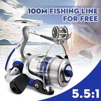 5.5: 1 Bouche de pêche à la filature 12BB + 1 Boules de roulement SL 1000-7000 Bobine métallique Boîte Roqueuse Outils en plein air Baicasting Reels1