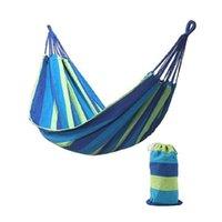 휴대용 야외 정원 해먹 휴대용 침대 여행 캠핑 스윙 하이킹 캔버스 스트라이프 그물 침대 교수형 침대 HHA4796