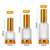 Pompe en verre givré (pulvérisateur) Bouteilles de parfum d'huile essentielle de lotion avec capuchon en or bronze 20 ml 30 ml 50 ml HWF6009