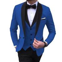 Men's Suits & Blazers Suit Vest Pants 3 Pcs Set   2021 Fashion Casual Boutique Business Wedding Jacket Coat Trousers Waistcoat