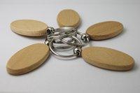 Promotionele 50 stks sleutel lege tags ketting geschenk groothandel aangepaste houten auto DIY promotie ovale ring-gratis verzending GPUC