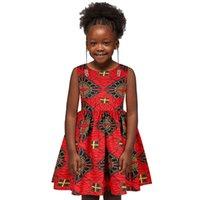 Moda Vestidos Africanos para Meninas 6-13 Anos Dashiki Imprimir sem mangas Princesa Crianças Vestido Americano África Roupas