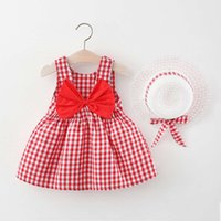 2021 fashion summer new Korean children's clothing girls' back big bow Plaid Dress Girls' little skirt