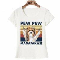 Camiseta para mujer Mujeres de verano Manga corta Naughty Clever Biewer Terrier Pew Print Divertido Dog Design Casual Tops Linda chica blanca
