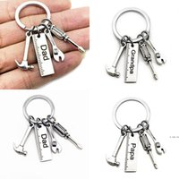 Father's Day stainless steel Keychain cartoon Key ring dad papa grandpa hammer screwdriver wrench ruler dad's tools gift charms HW