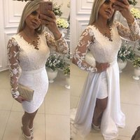 White Pearls Short Party Cocktail Dresses With Detachable Skirt Illusion Long Sleeves Lace Formal Prom Gowns For Evening robes de soirée