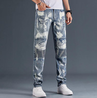 Fashion vintage men design jeans spring streetwear hip hop men motorcycle jeans long men pencial jeans pants