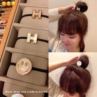 Hair ring H shell smile face rubber band headband a little good-looking Korean girl circle simple net red ponytail