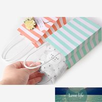 Small Paper Bag with Handles Bow Ribbon Stripe Handbag Cookies Candy Festival Gift Packaging Bags Jewelry Birthday