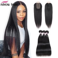 Ishow Human Hair Bundles With Closure Straight Virgin Hair Extensions 3 4pcs With 2x3 Lace Closure Straight