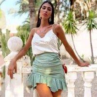 ZXQJ BOHO Kadınlar Tatlı Ruffles Mini Etekler Yaz Vintage Bayanlar Yumuşak Keten Etek Kadın Flayas Kızlar Chic Yeşil Jupe Femme 210629