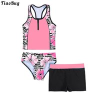 One-Pieces TiaoBug 4 To 16 Years Kids Girls Swimwear Tankini Set 3Pcs Floral Print Sleeveless Racerback Tank Vest Shirt Short And Triangle