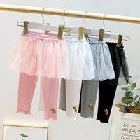 Hosen Mädchen Kleid Leggings Gefälschte zweiteilige Kleidung Kinder Baumwolle Spitze Hosen für Baby Mädchen Kleinkind Herdung 2021 1 2 3 4Y