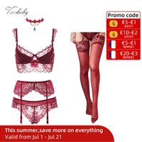 Varsbaby sexy lace push up bra sets bra+panties+garter+stockings+necklace Christmas 5 Pcs Lots
