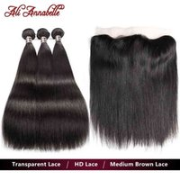 Ali Annabelle Transparent Lace Straight Hu e With 13x4 HD Frontal Brazilian Hair Weave Bundl
