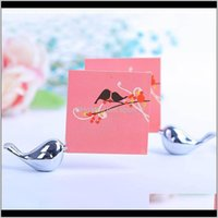 Other Event Festive Supplies Home Garden Drop Delivery 2021 Metal Love Bird Place Card Holder Wedding Table Decor Bridal Baby Shower Baptism