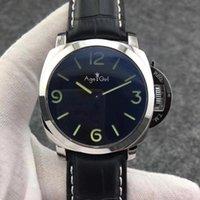44mm 클래식 남성 자동 기계식 사파이어 스테인레스 스틸 블랙 가죽 1950 3 일 빛나는 녹색 번호 시계 손목 시계