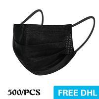 ABD'de ABD'de Tek Kullanımlık Maskesi 500 adet 3-Katmanlı Koruma Ve Kişisel Sağlık Kulaklık Ile Ağız Sıhhi Yüz Maskeleri Ev Koruyucu Ürünler Balck