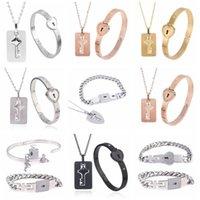 a Couple Lovers Jewelry Love Heart Lock Bracelet Stainless Steel Bracelets Bangles Key Pendant Necklace Dropshipping
