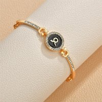 Rhinestone 12 Constellation Bracelets for Women Constellation Couple Friendship Bracelet Bangle Female Jewelry Valentines Day Gift C3