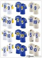 "Homens Mulheres Los Angeles ""Rams"" 99 Aaron Donald 2 Robert Woods 9 Matthew Stafford 5 Jalen Ramsey 10 Cooper Kupp Football Jerseys Royal"