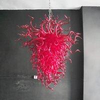 اليدوية مورانو الثريات مصباح الفاخرة الأحمر الملونة الزخرفية أدى أضواء قلادة 110-240 فولت الحديثة الفن الزجاج الإضاءة الثريا 32 من 48 بوصة
