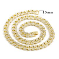 Factory Outlet Hip Hop Bling Fashion Chains Jewelry Mens Gold Silver Miami Cuban Link Chain Necklaces Diamond Iced Out Chian LFZ9