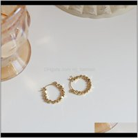 & Hie Jewelry Simple Korean Metal Ball Hoop Earrings For Women Unique Statement Big Earings Fashion Geometric Jewelry Vintage Drop Delivery 2