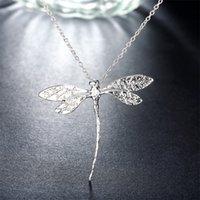 Nova moda 925 jóias de prata longas libélula pingentes colares cadeias para mulheres presentes do dia dos namorados 1409 Q2