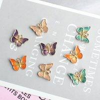 10 PCS 귀여운 나비 모양 매력 DIY 쥬얼리 팔찌 목걸이 펜던트 매력 금색 톤 에나멜 부동 매력 만들기