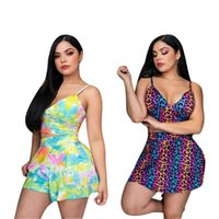 Women's Swimwear QIWN Women To Set The Summer Tie-Dyed T-Shirt Blouse Loose And Motorcycle Skirt Casual Two Street Clothes Suit Sports