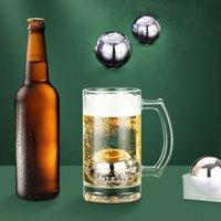 라운드 얼음 공 스테인레스 스틸 재사용 가능한 냉각 스톤 쿨러 버킷 위스키 와인 당신의 음료를 유지 차가운 더 긴 주방 액세서리 파티 막대 도구